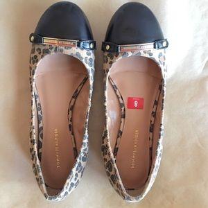 Tommy Hilfiger Leopard Leather Toe Ballet Flats
